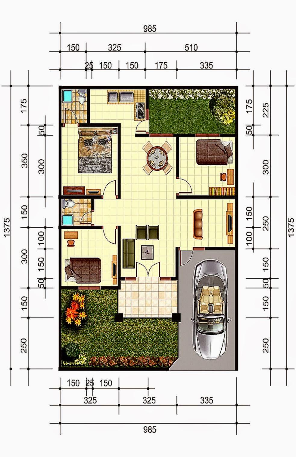 Denah Rumah Minimalis 3 Kamar Ukuran 7x10 Expo Desain Rumah