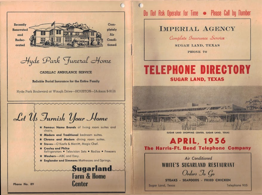 1956 Sugar Land Telephone Book