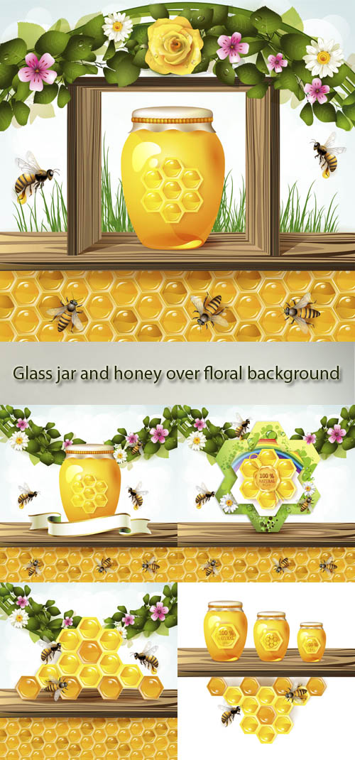 Stock: Glass jar and honey over floral background