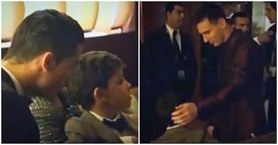 Filho de Cristiano Ronaldo é fã de Messi e corre para cumprimentá-lo