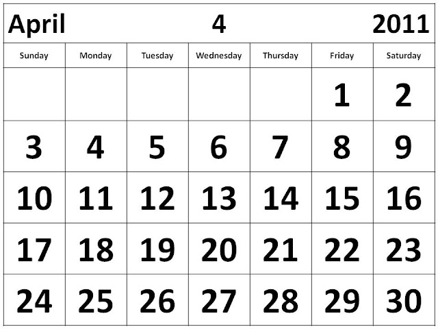 free yearly calendar 2011. With big fonts , calendar With