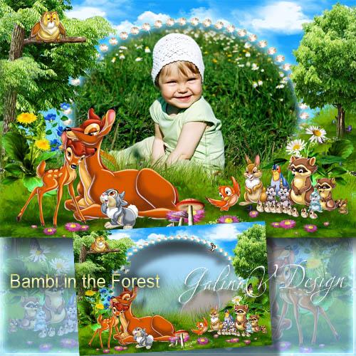 Детская фоторамка с героями мультфильма - Бэмби в лесу