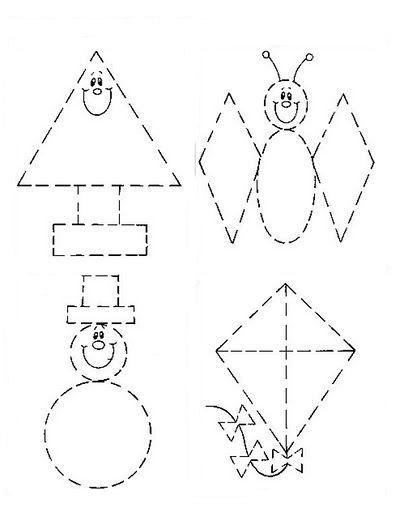 Los duendes y hadas de Ludi: Láminas de picado sobre figuras geométricas