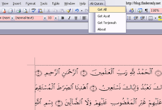 Software add in Quran in Word 2003, 2007, 2010