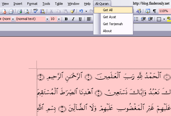 oftware add in Quran in Word 2003, 2007, 2010