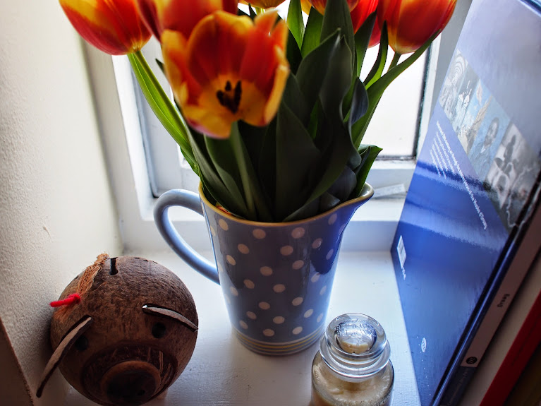 coconut pig and tulips