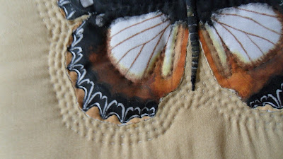 Hypolimnas dexithea from the Nymphalidae family of butterfly. Close up of appliqué stitching.