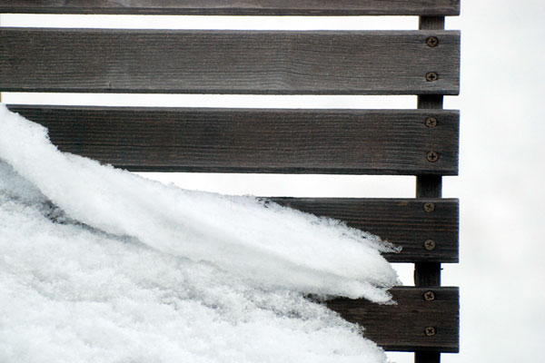 snowy deck furniture