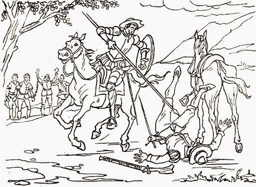 Don Quijote ataca a los guardianes de los presos