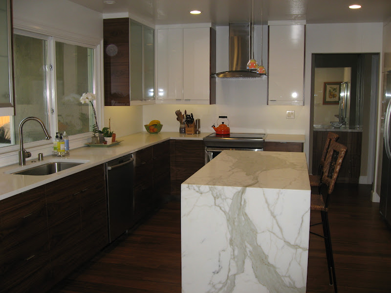 Finished Kitchen: Ikea, Walnut, Marble And Glossy White