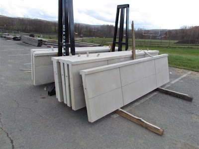 Precast panels awaiting installation at window openings