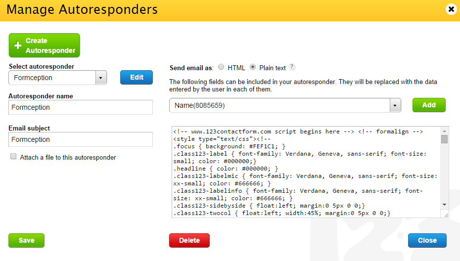 add HTML/CSS in autoresponder