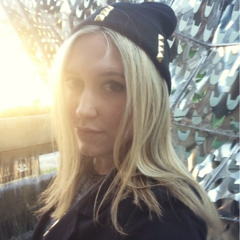 beanies, studded beanies, sunset, blonde girl, fashion blogger
