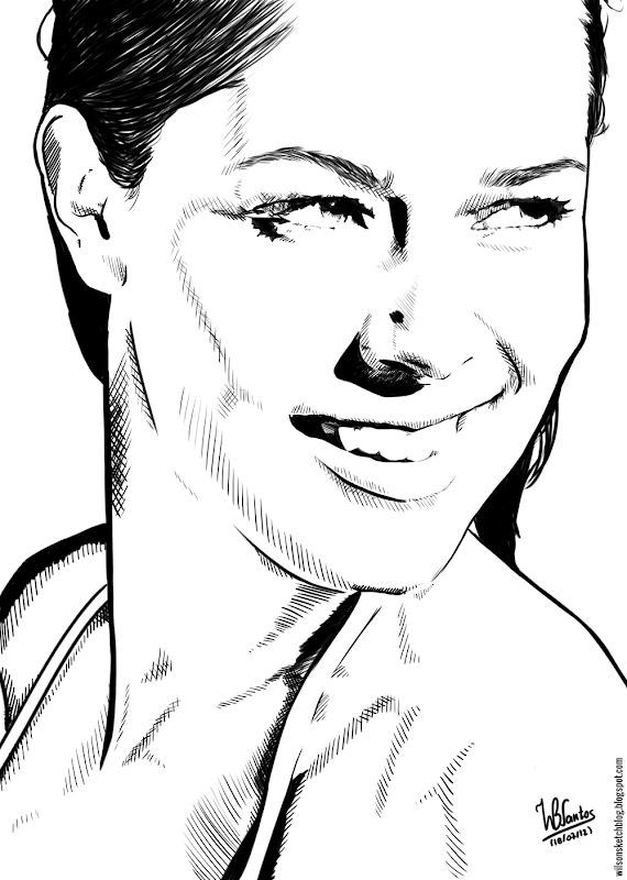 Ink drawing of Ana Ivanovic, using Krita 2.4.