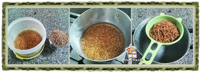 Preparando trigo em grãos