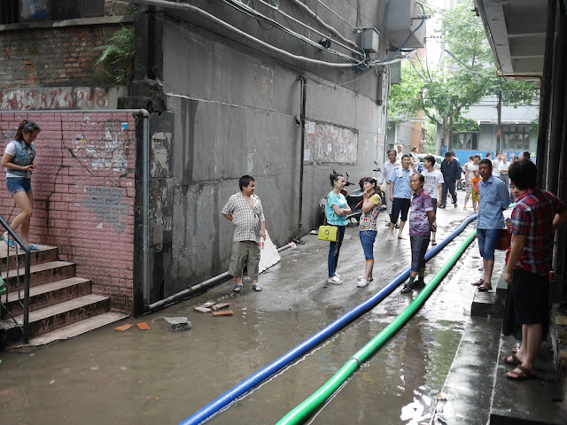 tube pumping out flood waters