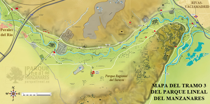 mapa del tramo 3 del parque lineal del manzanares