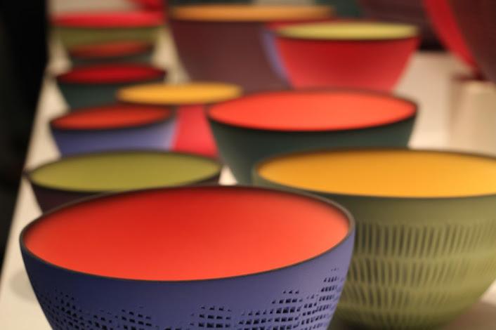 colorful sanded clay bowls