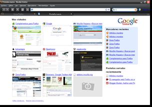 La nueva pestaña de Google Chrome en Firefox