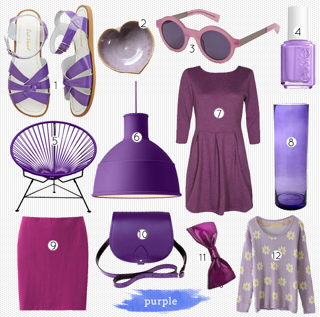 collage of purple home decor and fashion items
