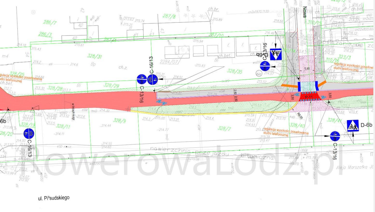 Niestety nie zniknie wspólny ciąg pieszo-rowerowy w okolicach Przędzalnianej. Skrzyżowanie z ul. Nową