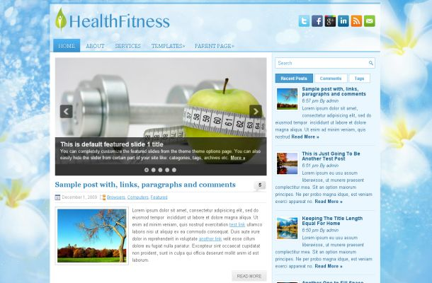 Health Fitness Green Blue WordPress Theme Template