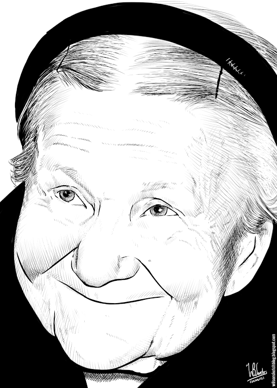 Ink drawing of Irena Sendler, using Krita 2.4.