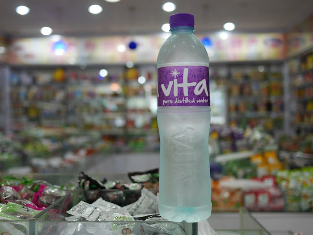 Bottle of Vita pure distilled water