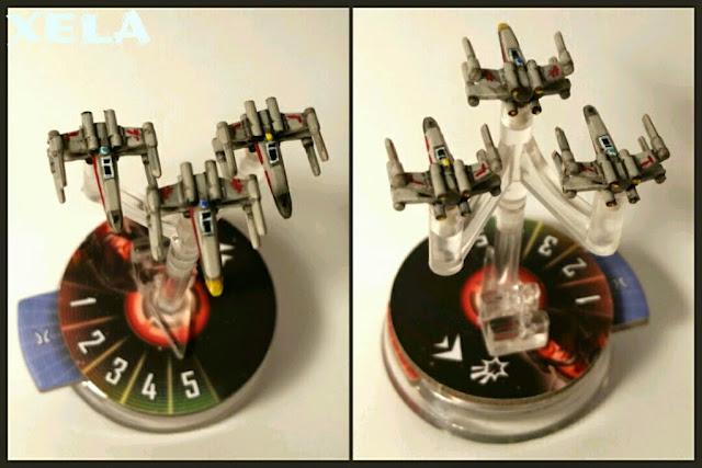 X-Wings del Star Wars Armada pintados por Xela de frente y de espalda