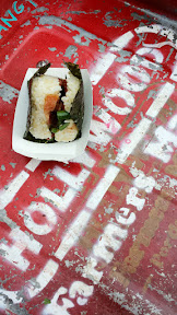 Pine Mountain + Deeproots bacon green bean onigiri at the Hollywood location of the Portland Farmers Market