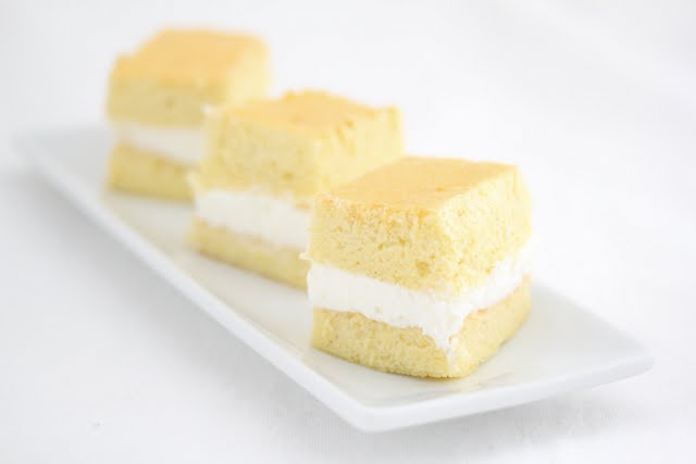 photo of three slices of sponge cake on a plate