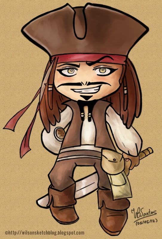 Cpt. Jack Sparrow cartoon, using MyPaint.