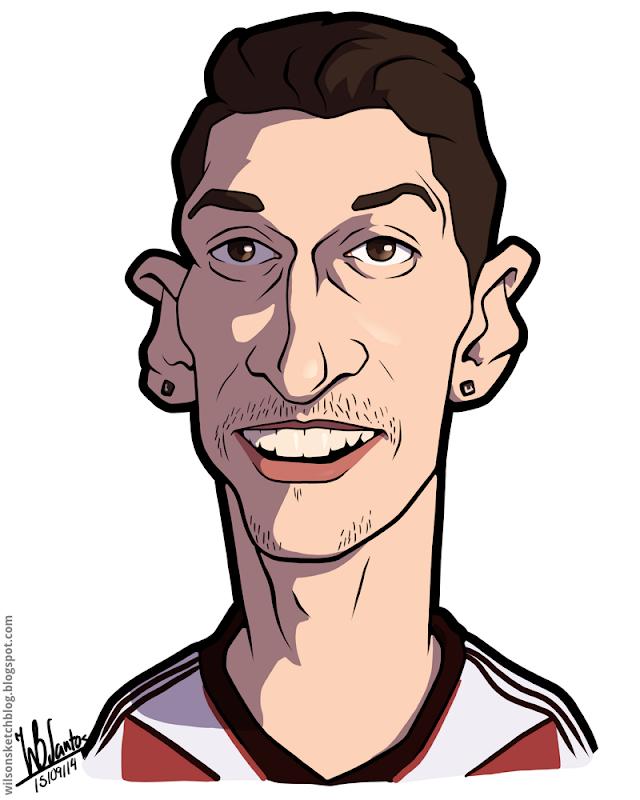 Cartoon caricature of Mesut Özil.