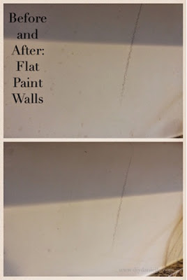 Before and after pictures of steam cleaner used for flat paint walls.