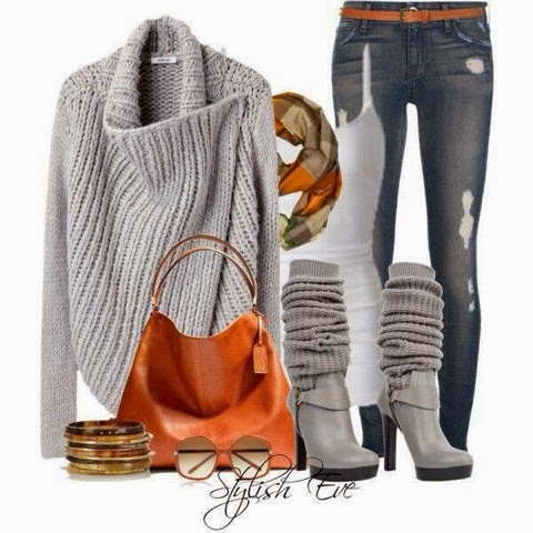 Adorable Grey cardigan, jeans, white blouse and long boots for fall