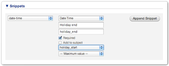 Adding a date time field snippet to a UI extension