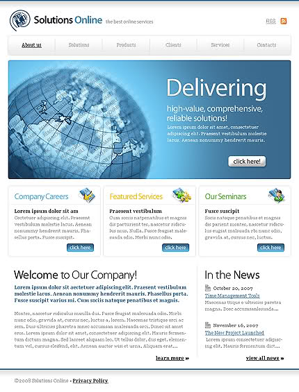 Free CSS Bleu Delivery Web2.0 Company Template