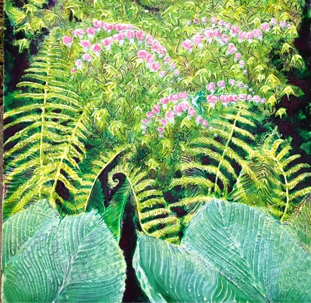 painting hosta and fern Robin Baratta artist