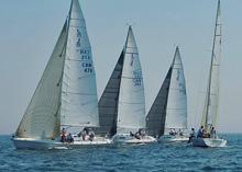 J/105 one-design sailboats- sailing off Canada