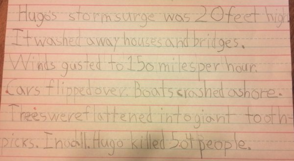 A book report on Hurricane Hugo