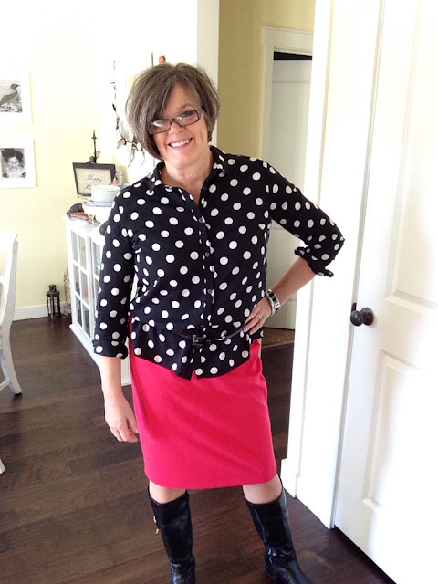 Fashion Friday- Black and White Polka dot blouse The Style Sisters