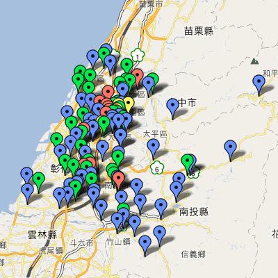 中油直營站地圖(中彰投)