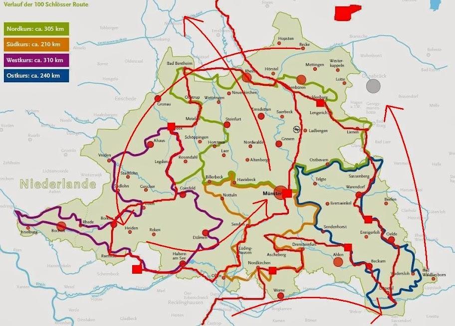 Routen-Karte Münsterland: 100-Schlösser-Route