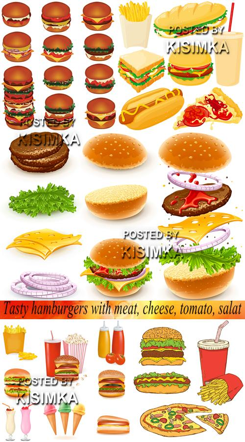 Tasty hamburgers with meat, cheese, tomato, salat