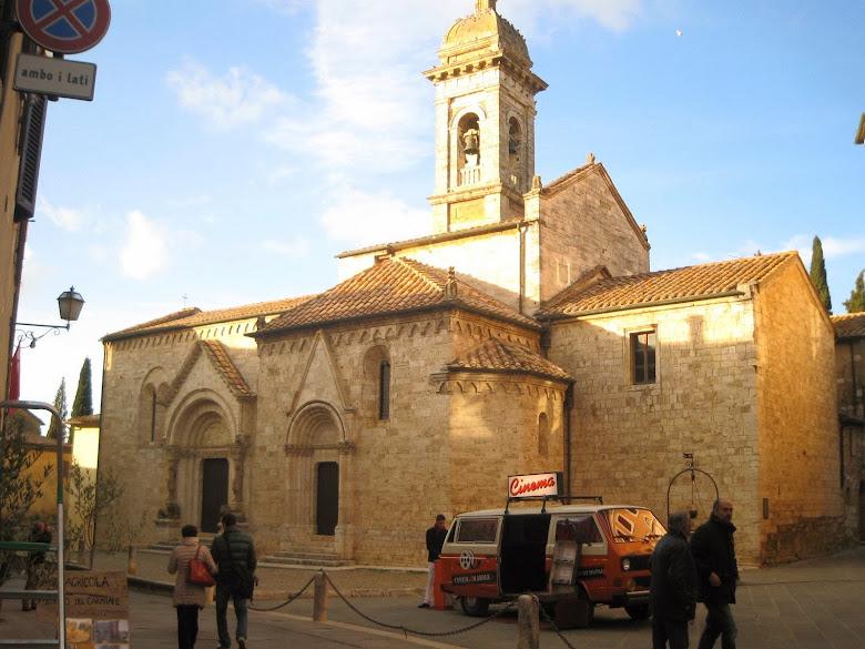 Collegiata church in San Quirico d'Orcia's historic town center