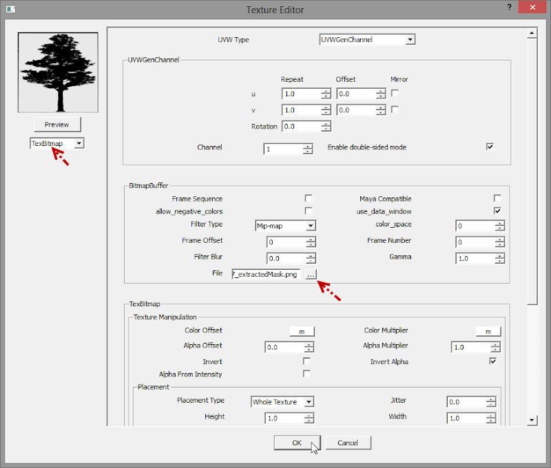 การกำหนดค่า Material ของต้นไม้แบบ 2D ให้มีความโปร่งใส Vraytree11