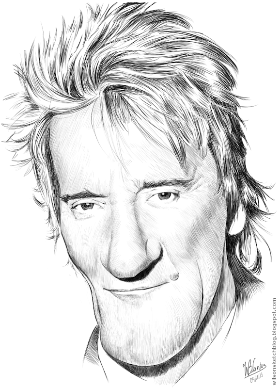 Caricature of Rod Stewart, using Krita.