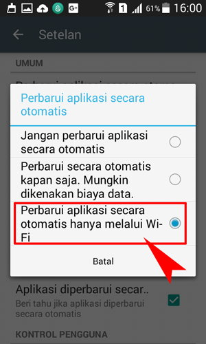Perbarui aplikasi secara otomatis hanya melalui wi-fi