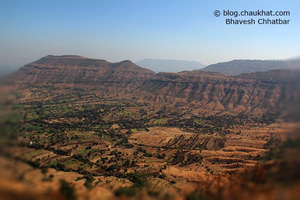 Breathtakingly beautiful panoramic view of a mountain from Harrison's Folly near Panchgani hill station
