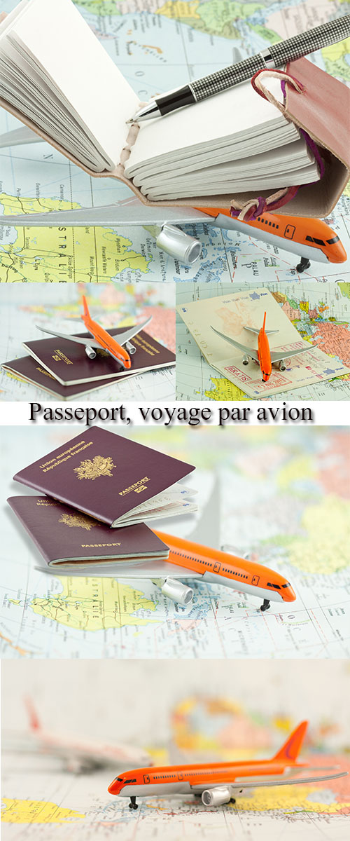 Stock Photo: Passeport, voyage par avion